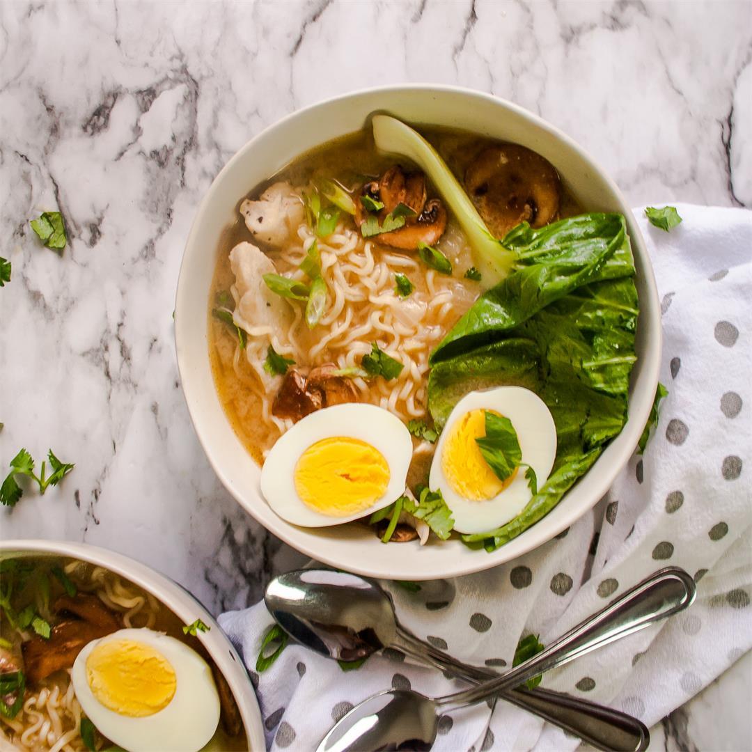 Miso Chicken Ramen w/ Mushrooms & Baby Bok Choy