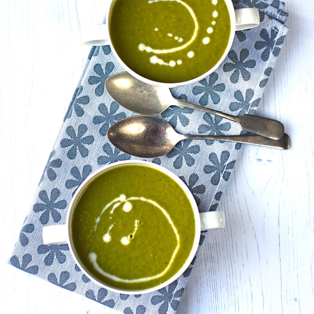 kale and sweet potato soup with horseradish cream