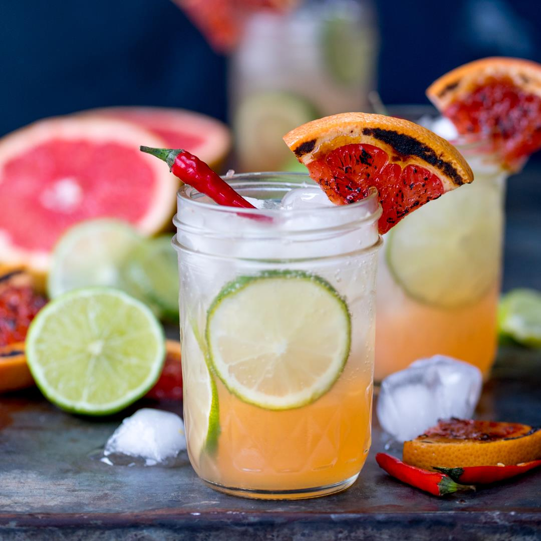 Charred grapefruit and Ginger Fizz Mocktail