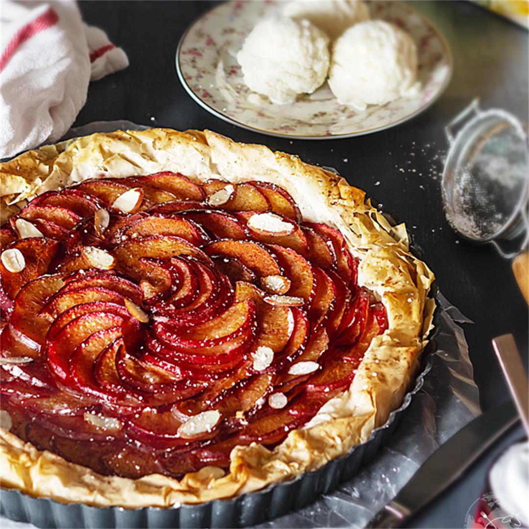 Rustic Plum Ricotta Tart with Fillo Pastry