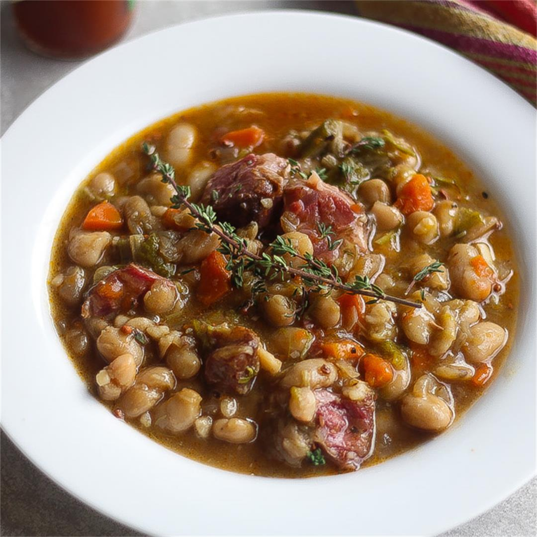Instapot White Bean Stew w/ Ham Hocks