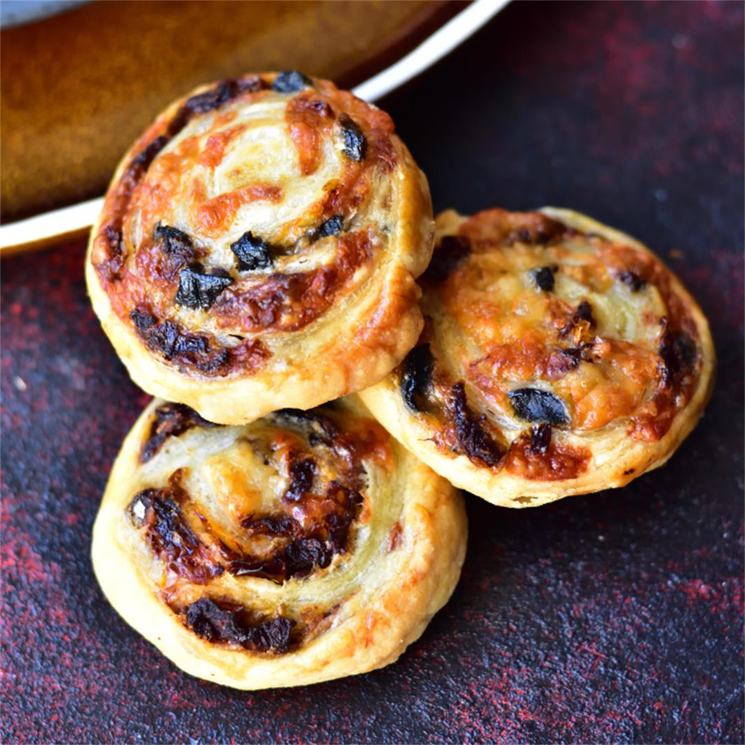 Cheese sun-dried tomato and olive puff pastry pinwheels
