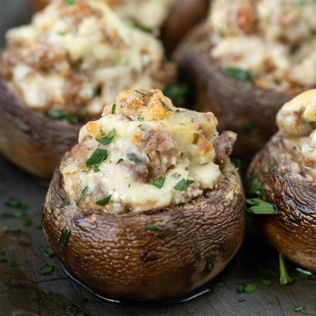 Boursin & Sausage Stuffed Mushrooms