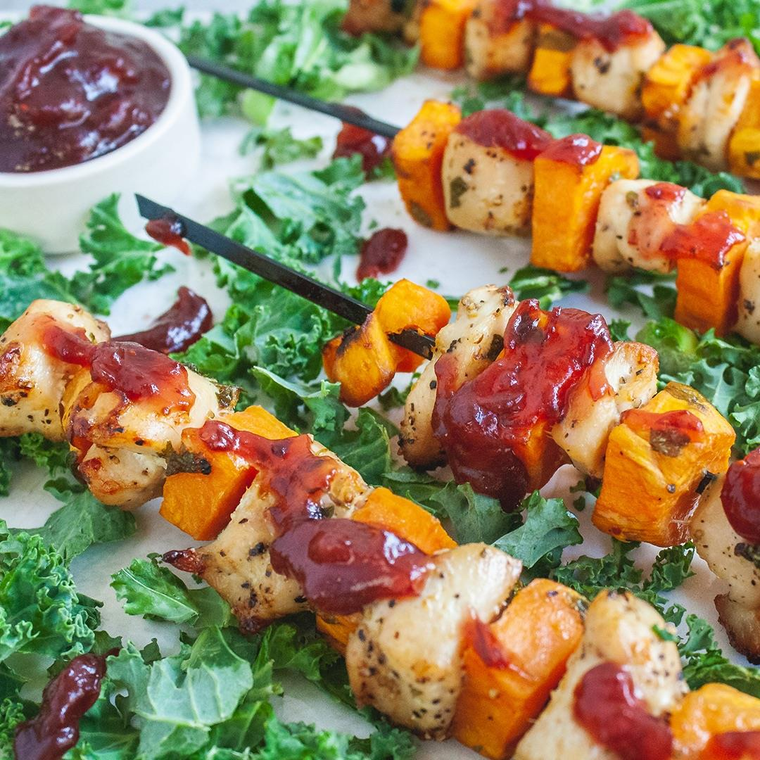 Turkey and Sweet Potato Skewers with Cranberry Sauce