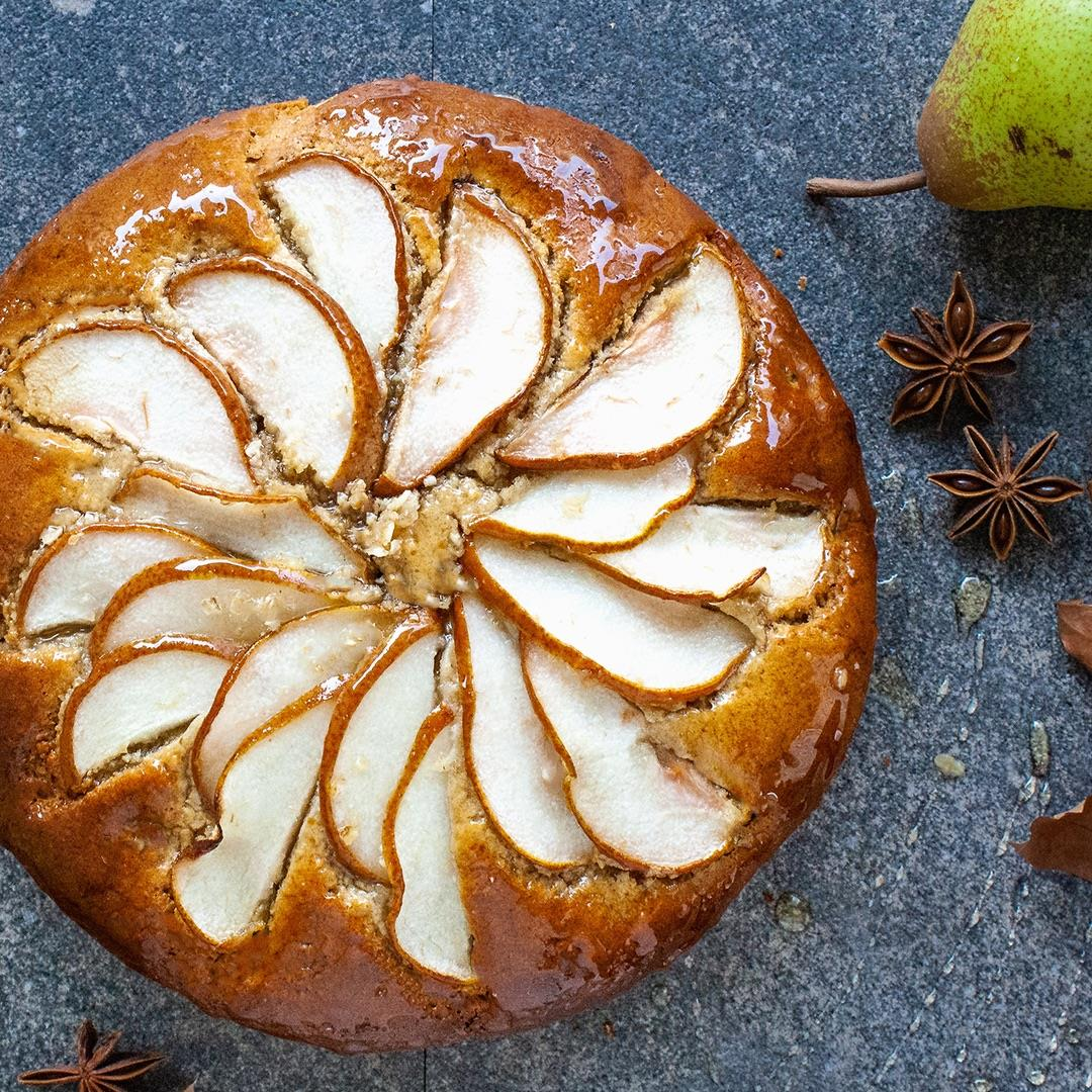 Honey Glazed Lemon Pear Cake