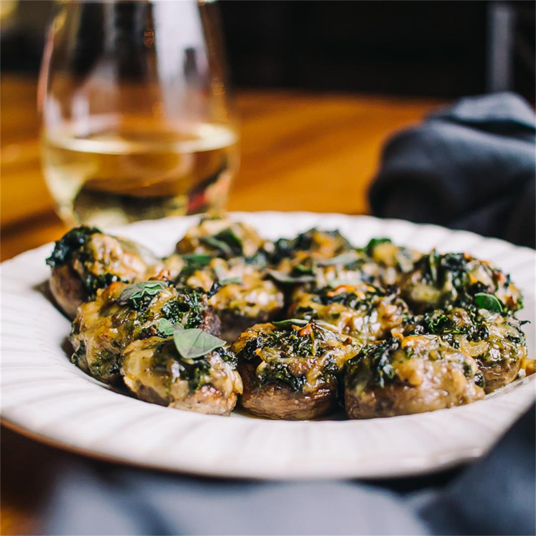 Kale and Mozzarella Stuffed Mushrooms