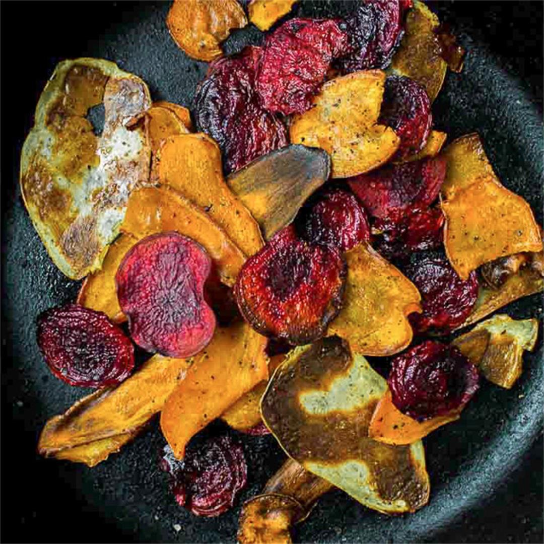Hot & Colourful Root Vegetable Chips (vegan + gf)