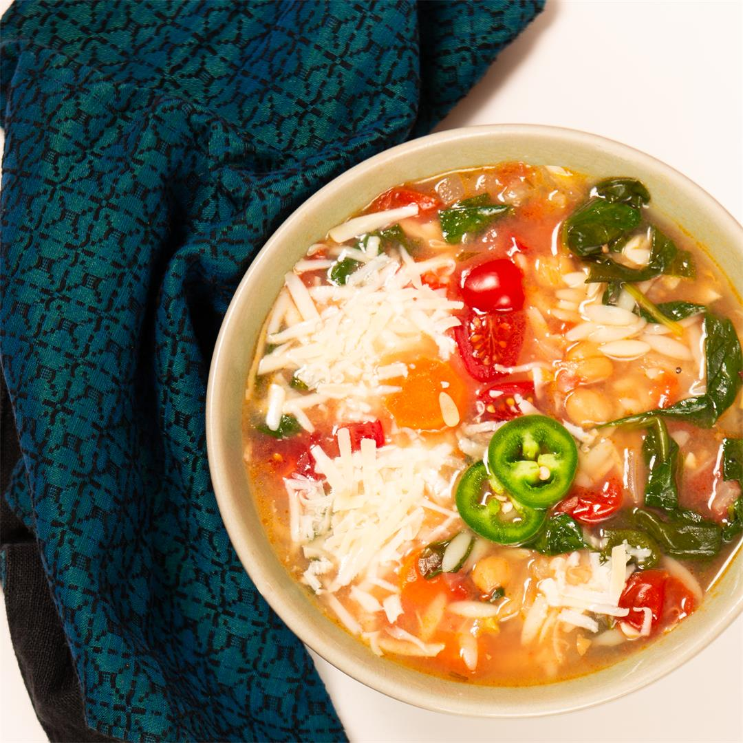 Chickpea Soup with Orzo and Spinach