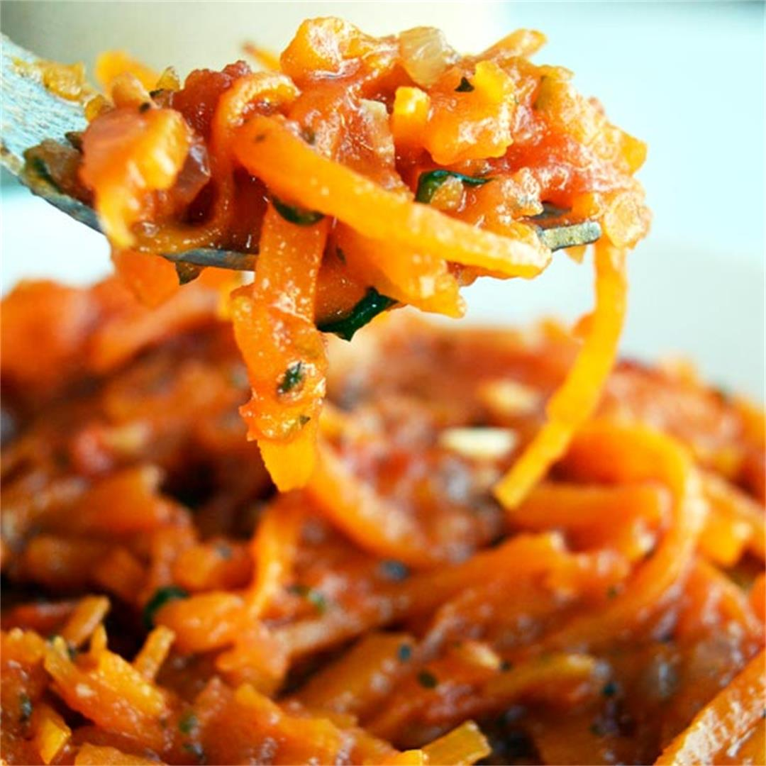 Arrabiata Sauce over Squash Noodles