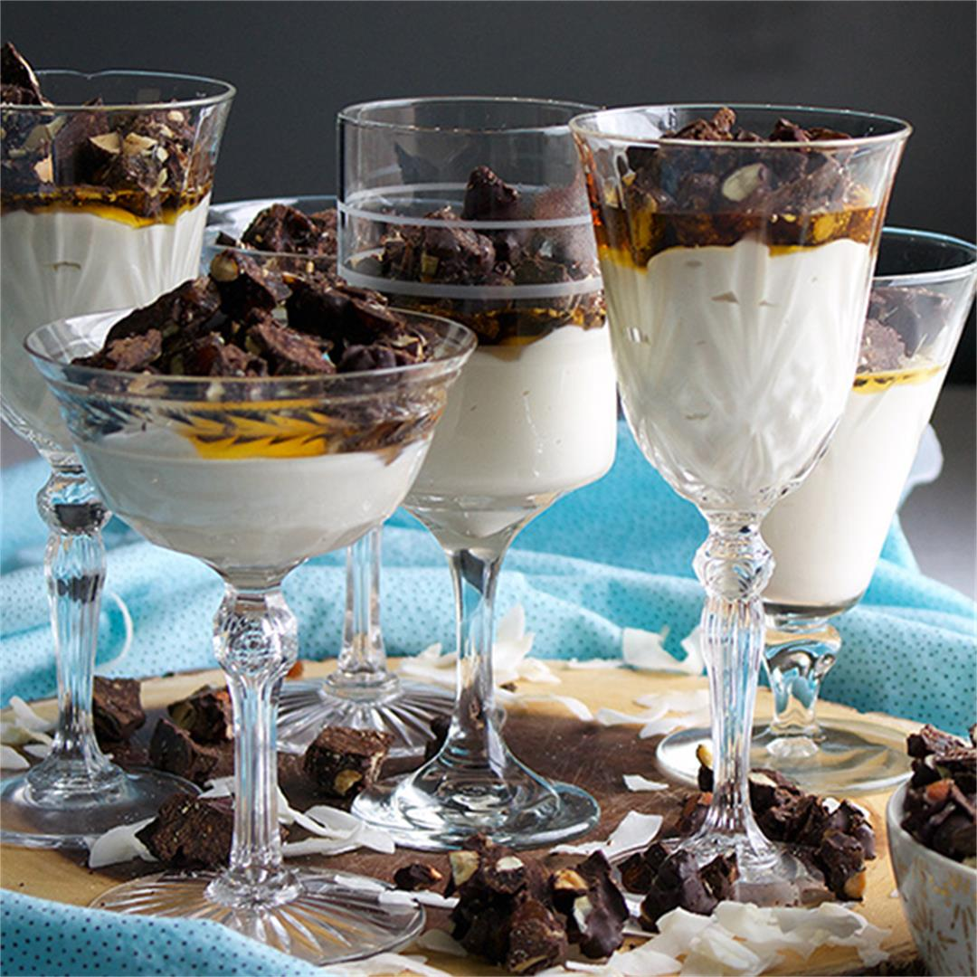 Coconut Maple Panna Cotta {no sugar} with Chocolate Clusters