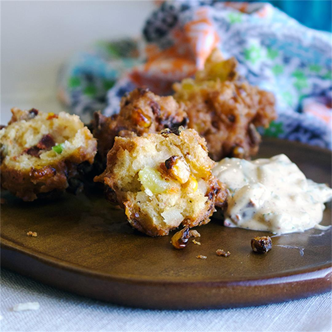 Coconut Corn Fritters with Chipotle Cilantro Sauce