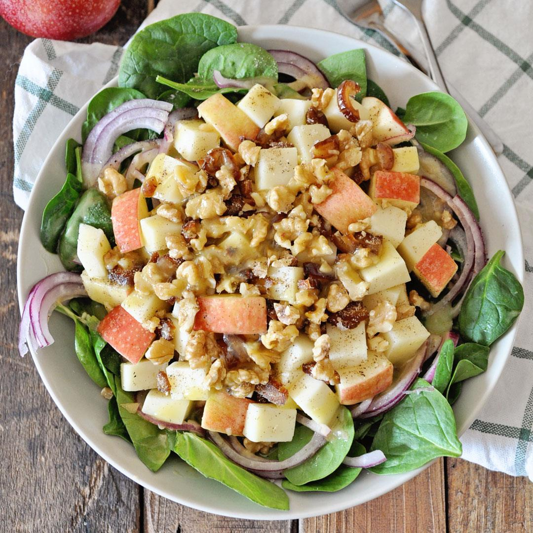 Winter Spinach Salad with Apples and Manchego Cheese