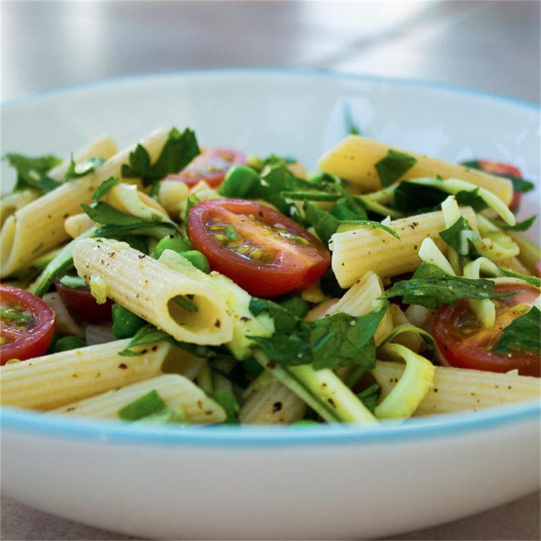 Quick Parsley, Pea and Tomato Pasta (vegan + gluten-free)