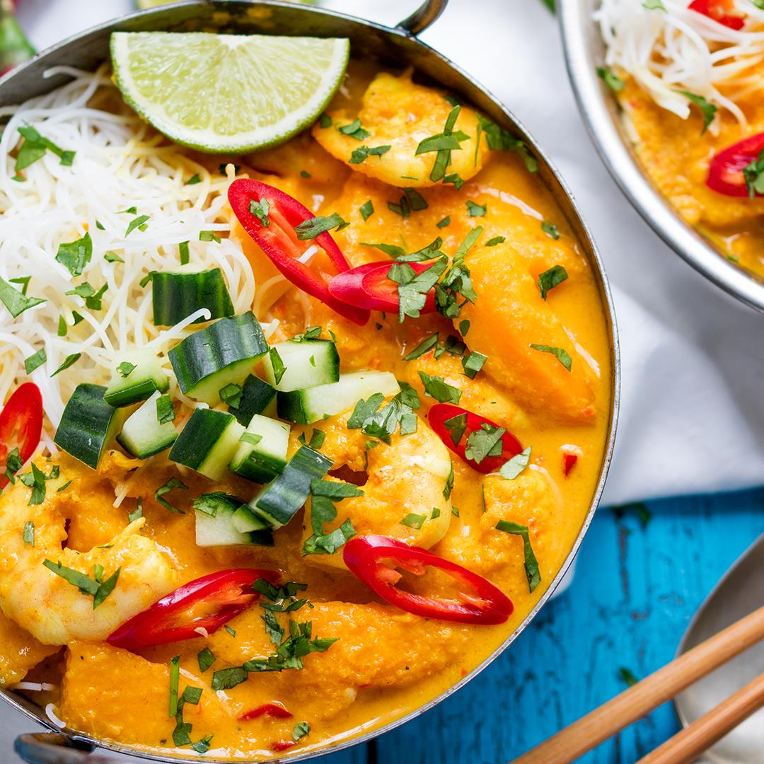 Prawn and Mango Curry Noodle Bowl