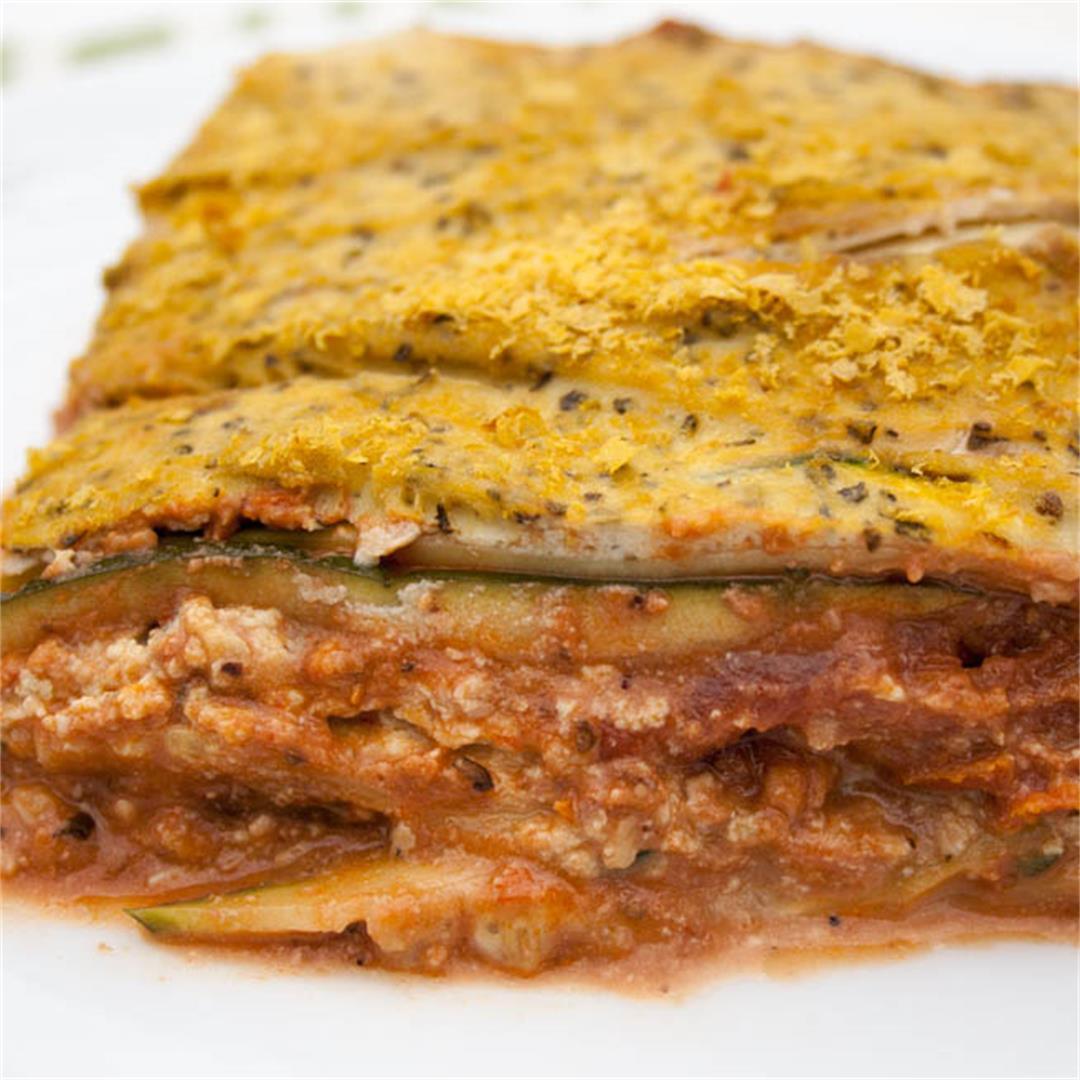Vegan Zucchini Lasagna with Tofu Ricotta and Walnut Sauce