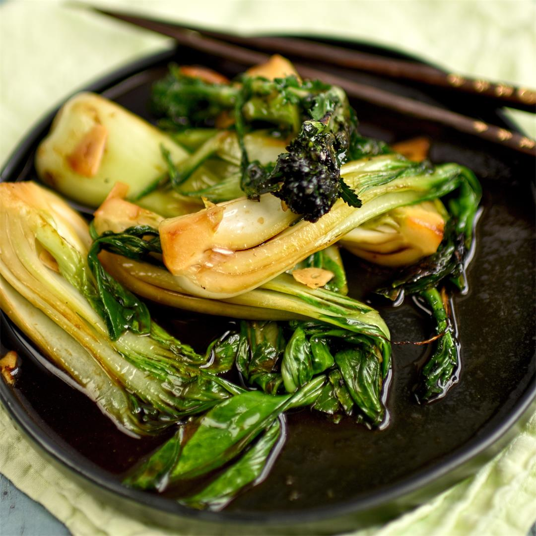 pak choi and broccoli with soy sauce and garlic