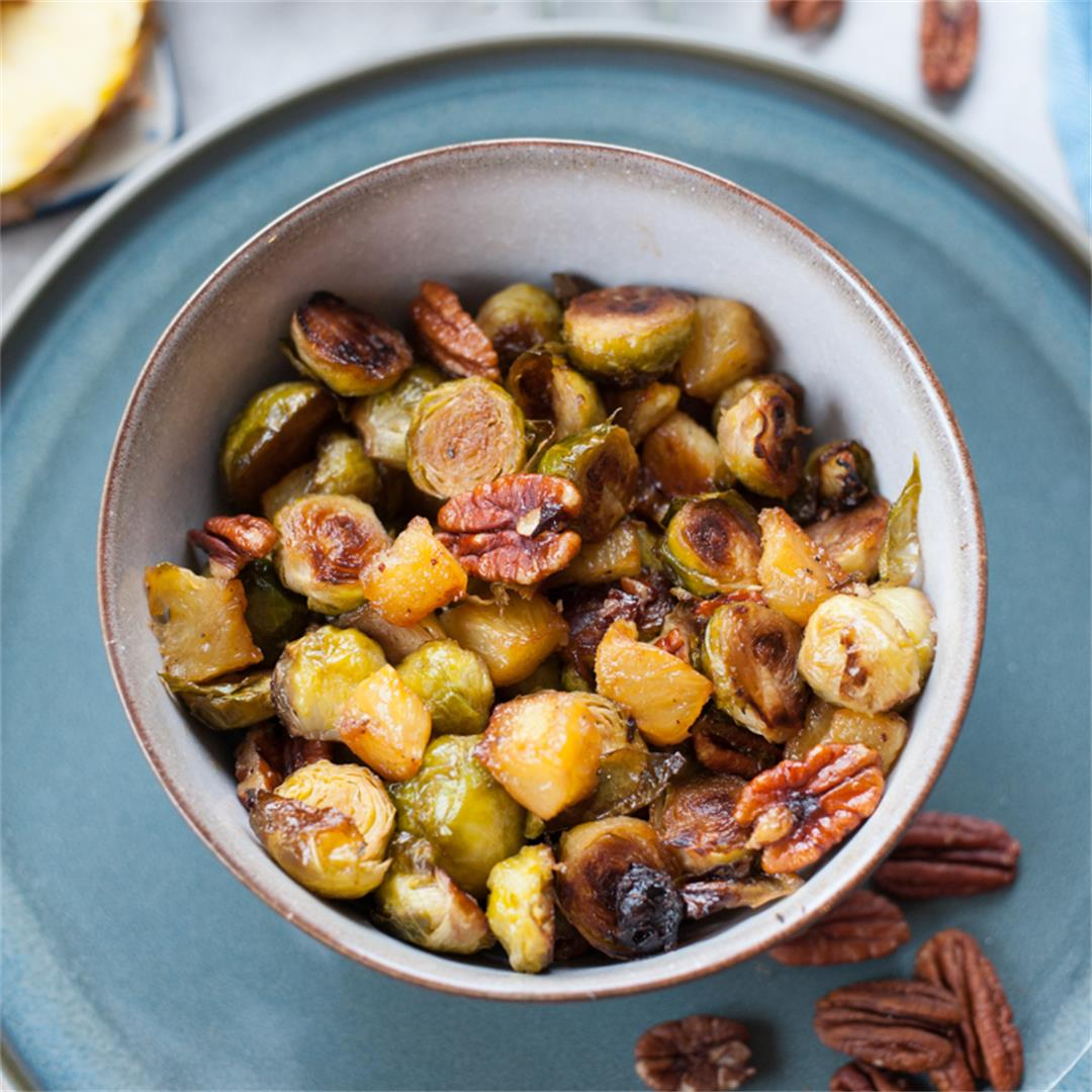 Roasted brussel sprouts with pineapple and pecans