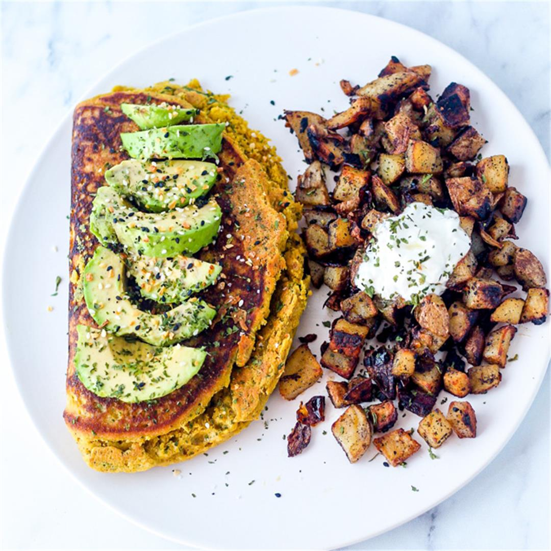 Vegan Omelet with Home Fries
