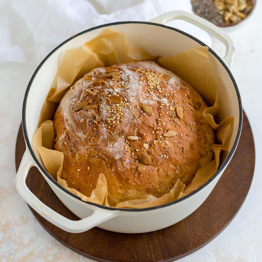 No-Knead 4 Seed Dutch Oven Bread