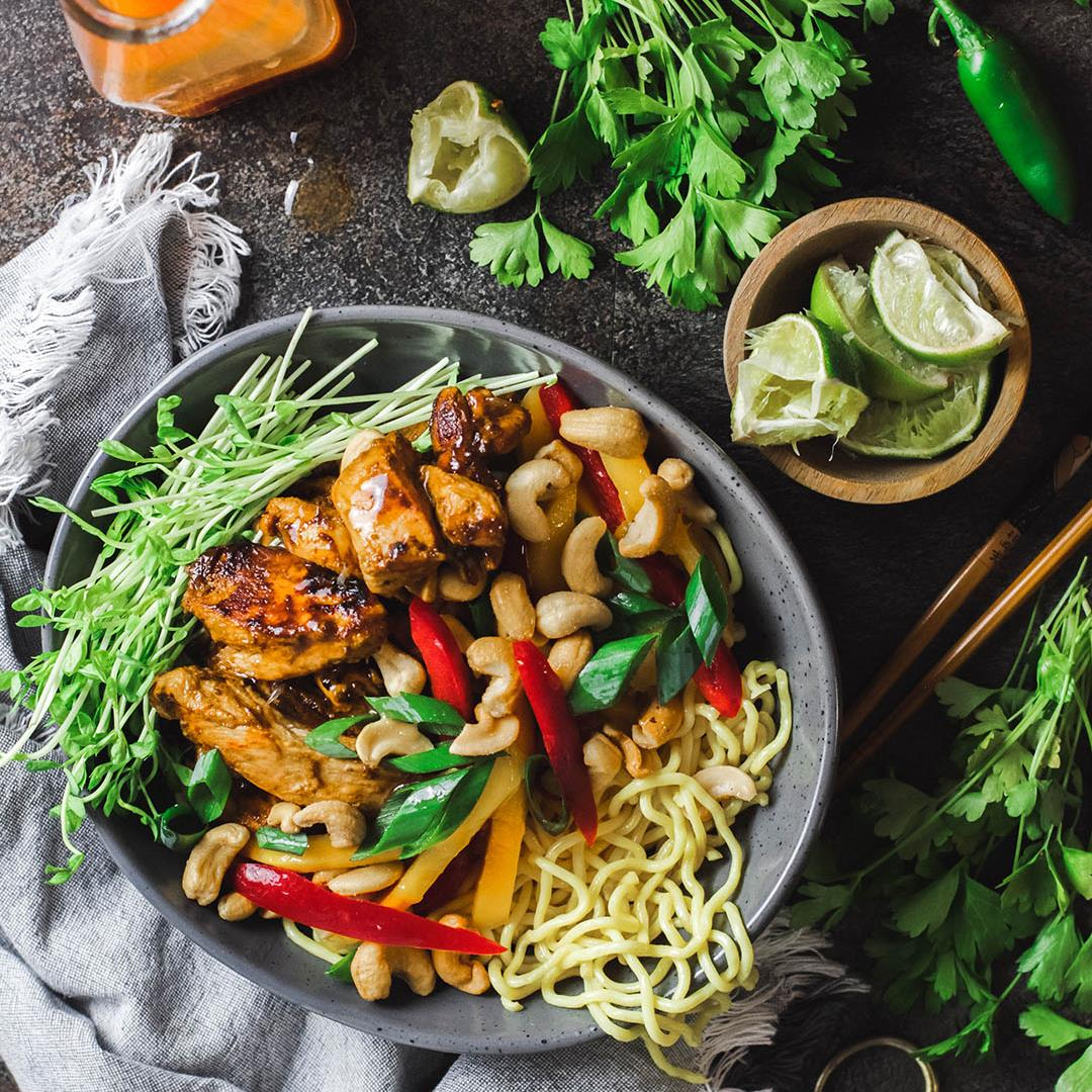 Mango +Sriracha Chicken Noodle Bowl w/ Sweet Chilli Dressing