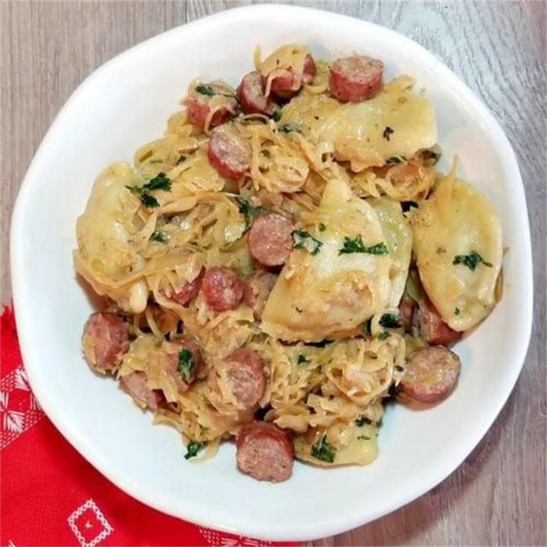 Farmer Sausage Skillet with Perogies