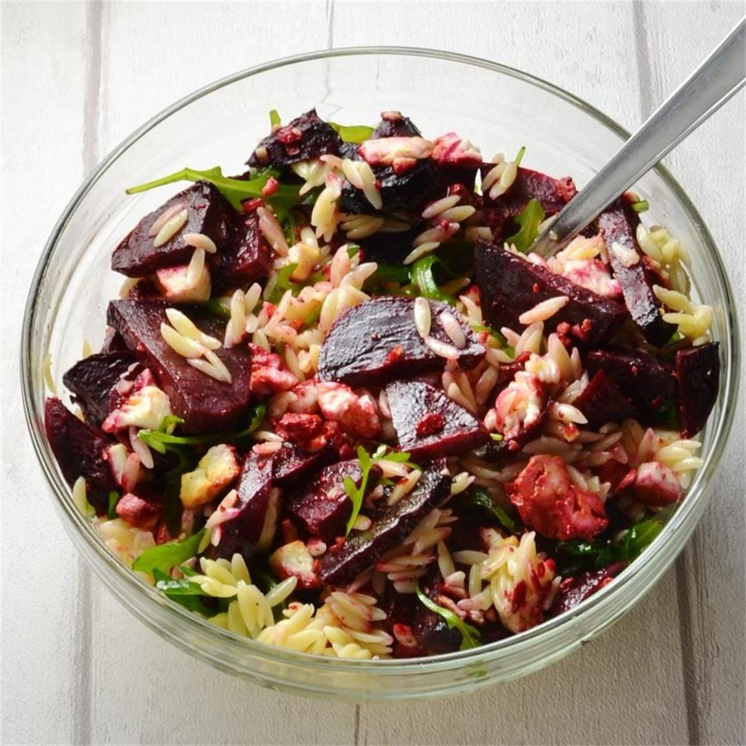 Baked Beetroot and Feta Pasta Salad