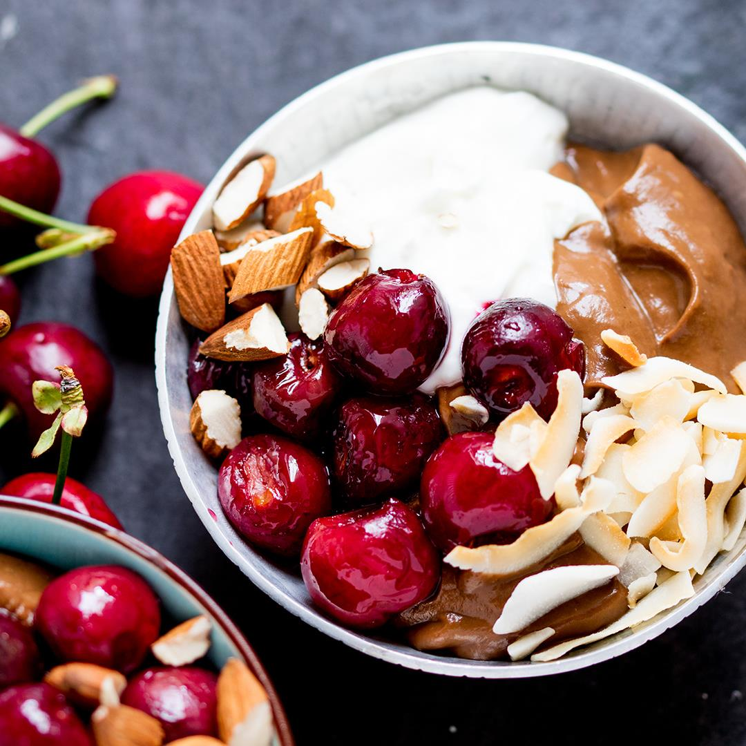 Avocado Chocolate Mousse Bowl with Roasted Cherries