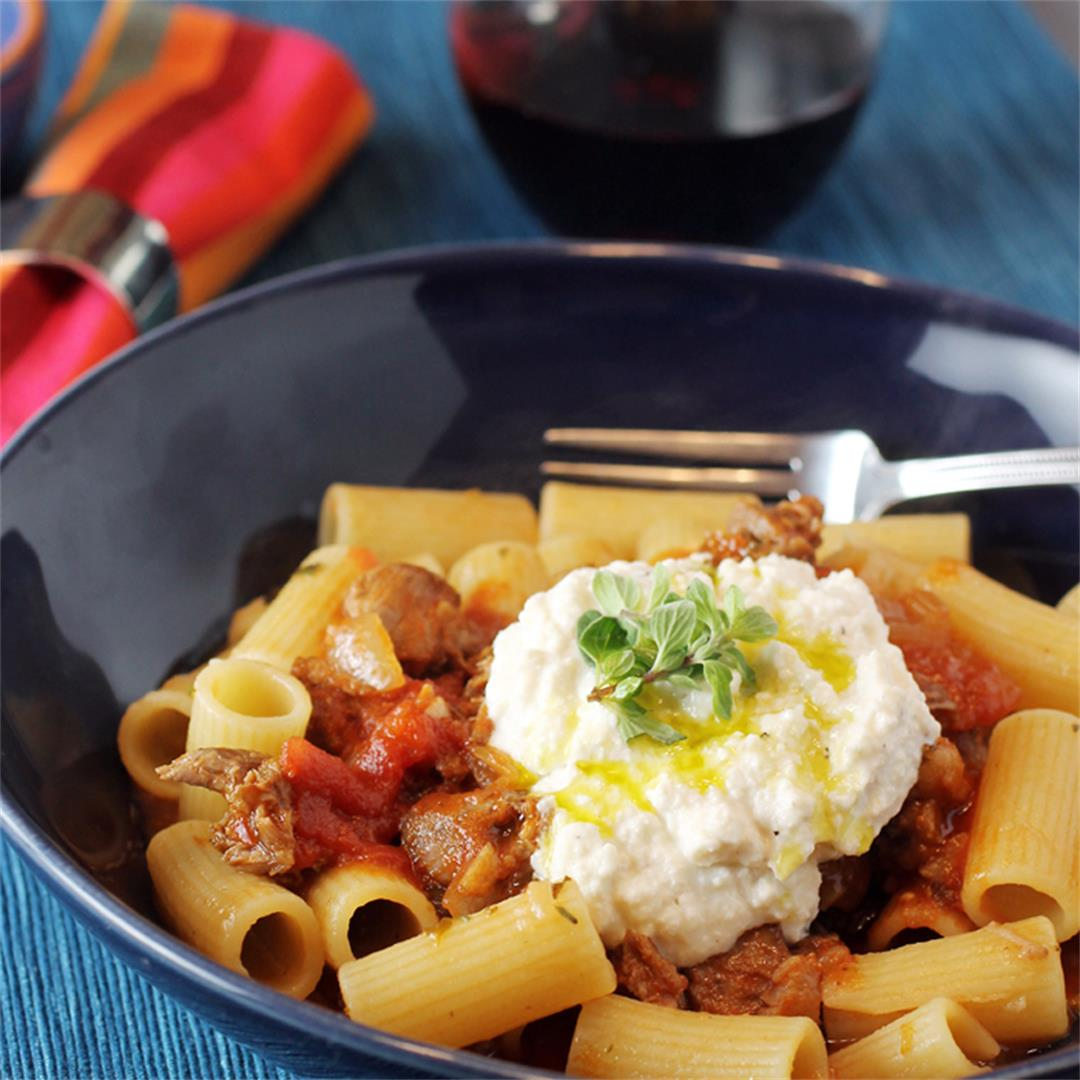 Lamb rigatoni with whipped ricotta