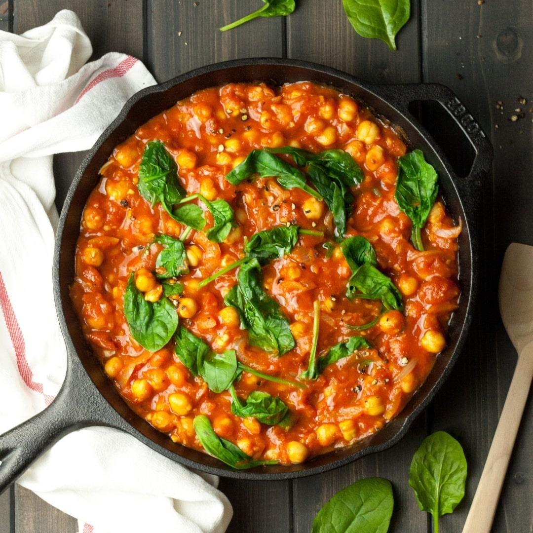 Vegan Spanish Chickpeas with Spinach
