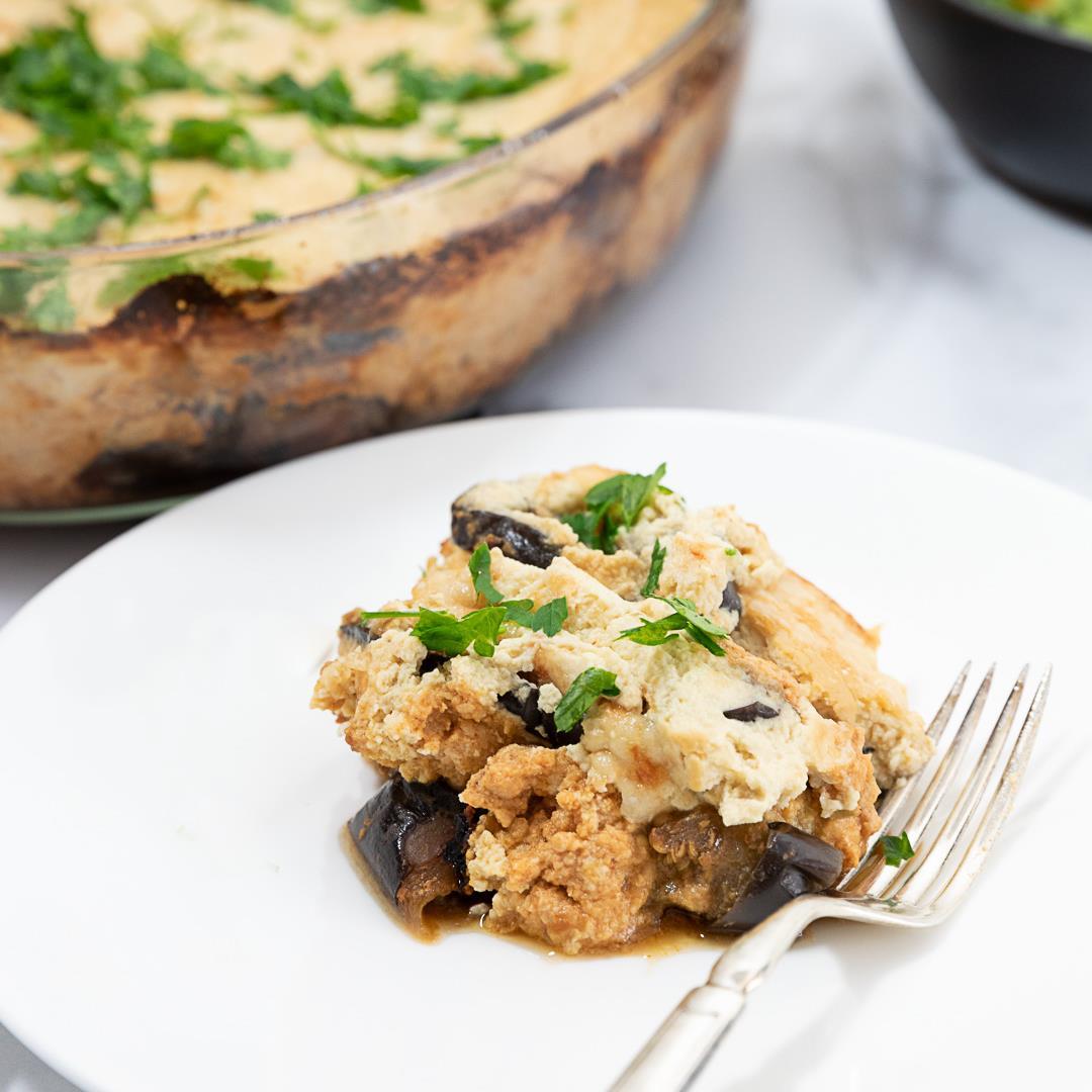 Skinny Turkey Moussaka with Eggplant and Cauliflower Bechamel