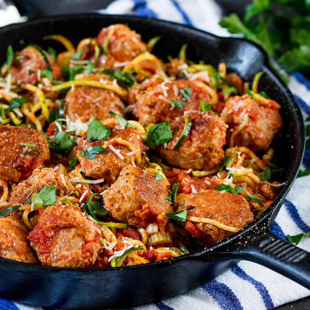 One-Pot Turkey Meatballs With Courgetti