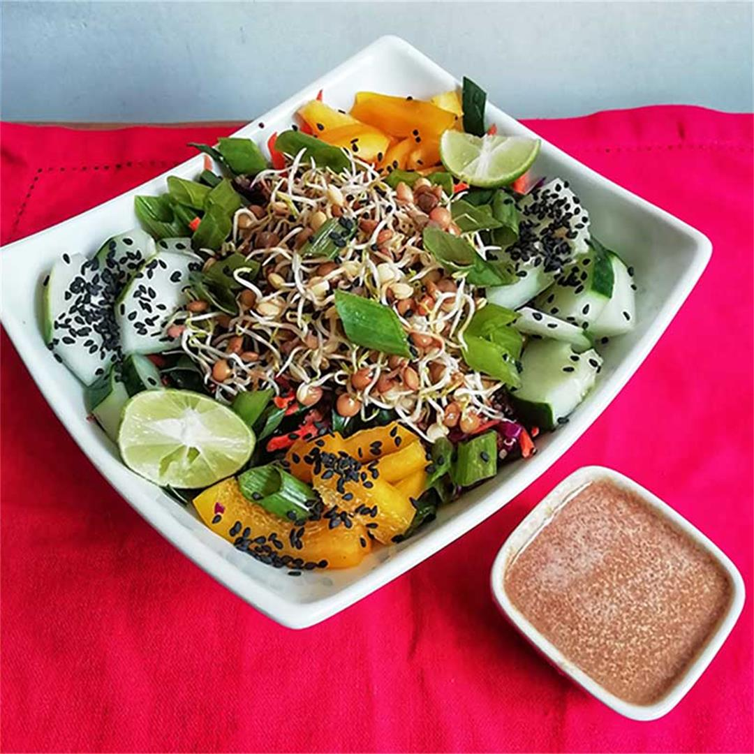 Asian Sprouted Lentil Salad with Spicy Peanut Dressing