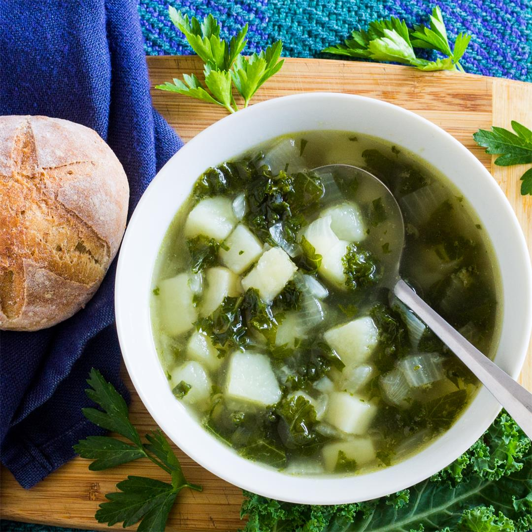 Kale Potato Soup is vegan, quick, easy, and nutritious.