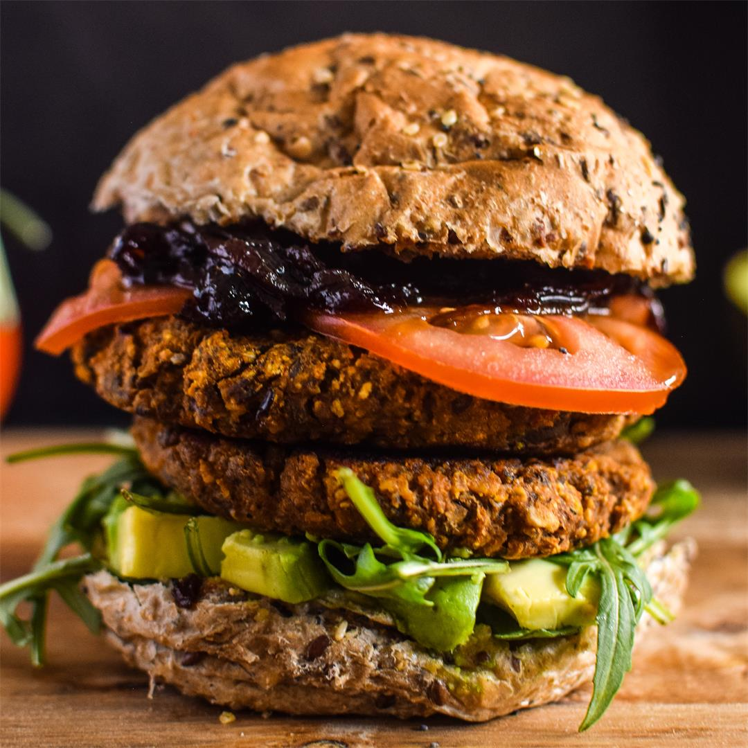 Sweet Potato Black Bean Burger with Caramelised Onion