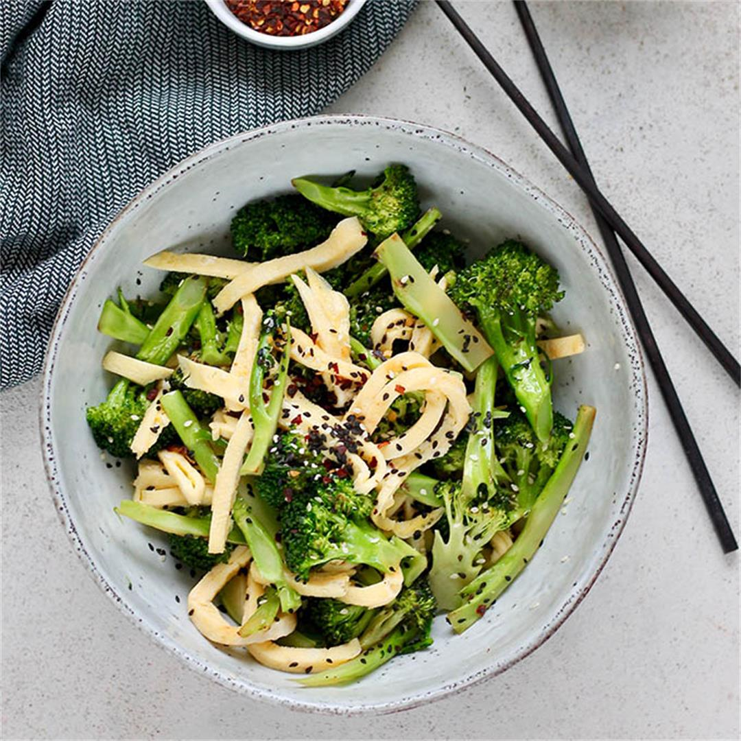 Pan-Fried Broccoli with Sesame Egg Ribbons