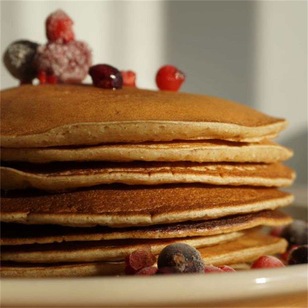 Fluffy Plant-based milk pancakes with whole wheat flour