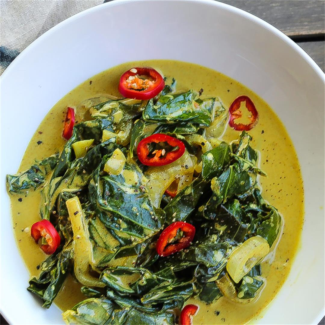 Coconut Curry Braised Collard Greens