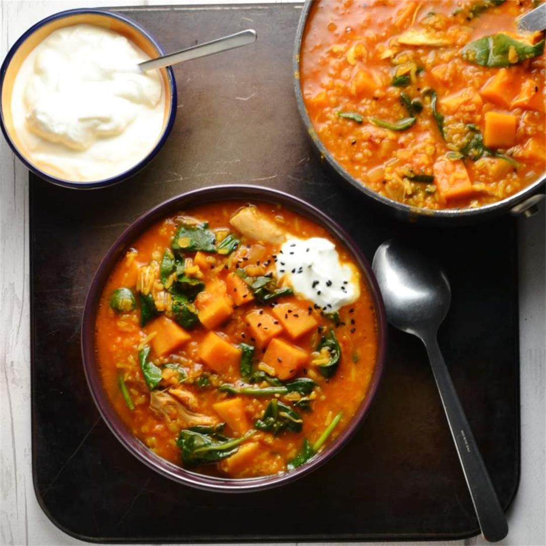 Sweet Potato Mulligatawny Soup Recipe with Spinach