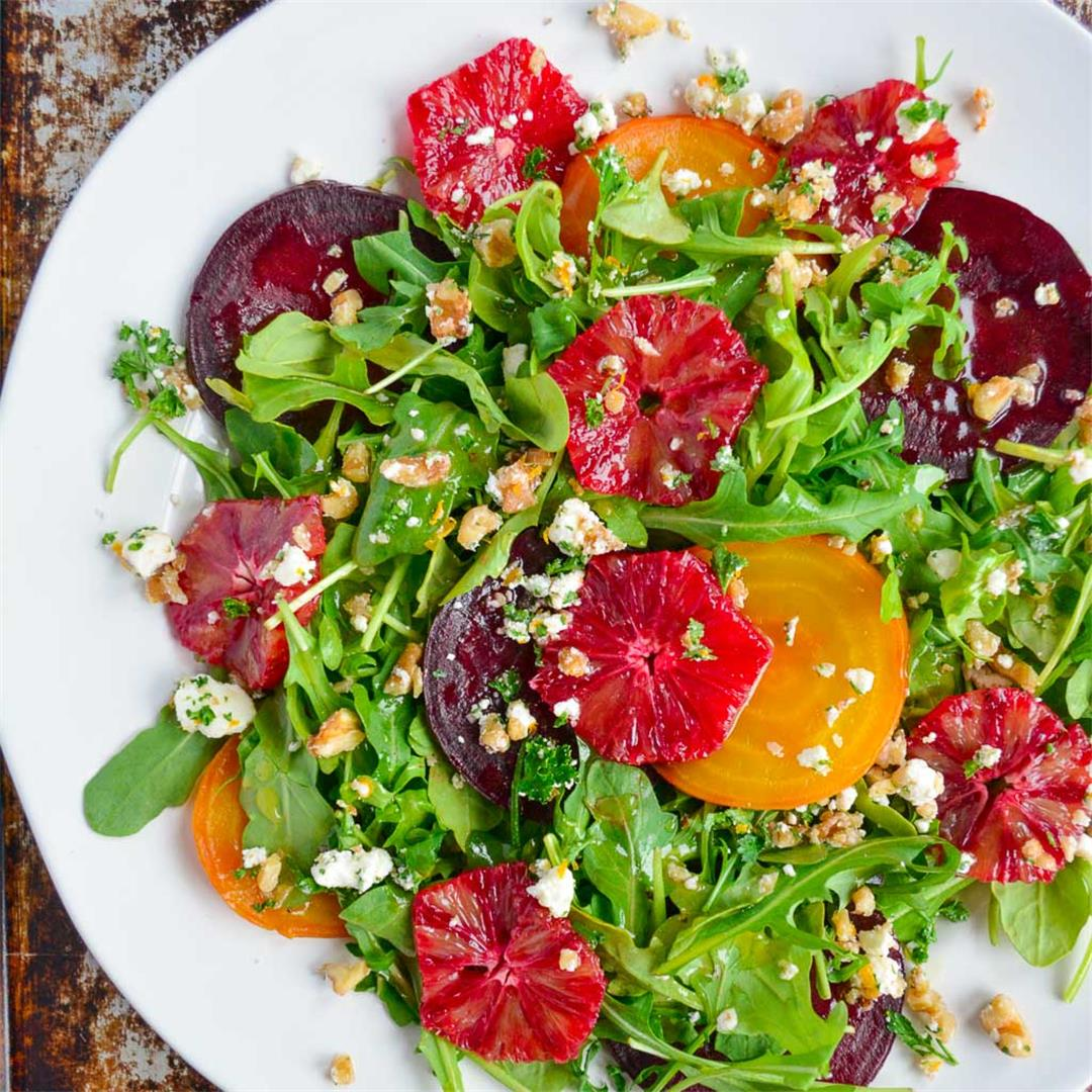Roasted Beet Salad with Walnut Feta Gremolata