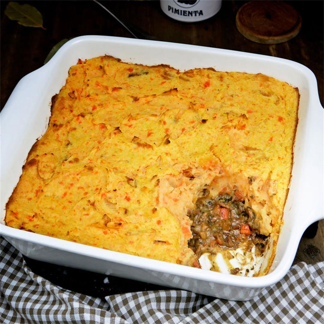 Cottage pie with potato and carrot mash and juicy minced meat