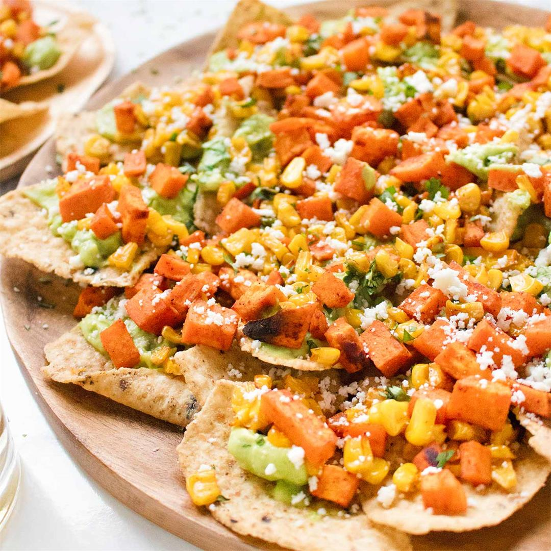 Sweet Potato Nachos with Guacamole Salsa
