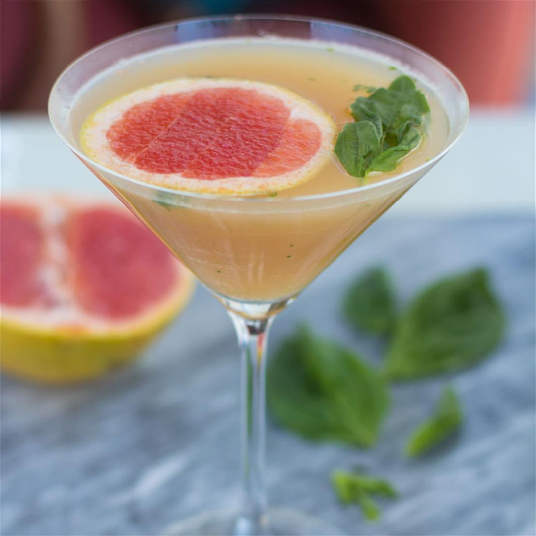 Simple Grapefruit Basil Martini
