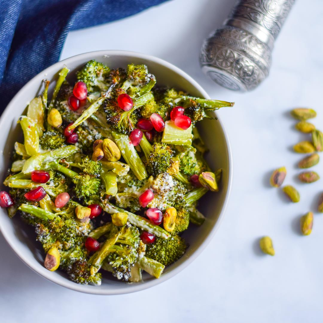 Roasted Broccoli Salad with Tahini, Pomegranate, and Pistachios