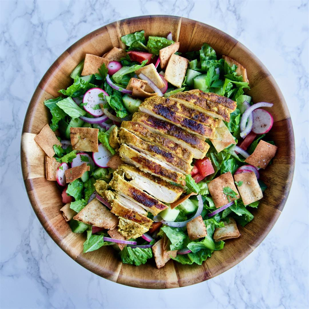 Fattoush Salad with Shawarma-Spiced Chicken