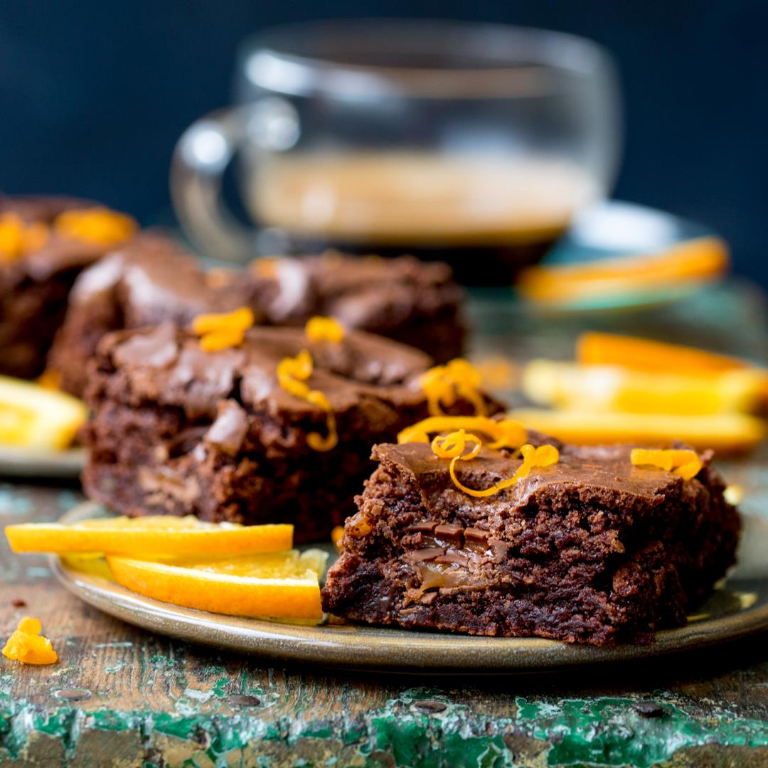 Chocolate Caramel Orange Brownies