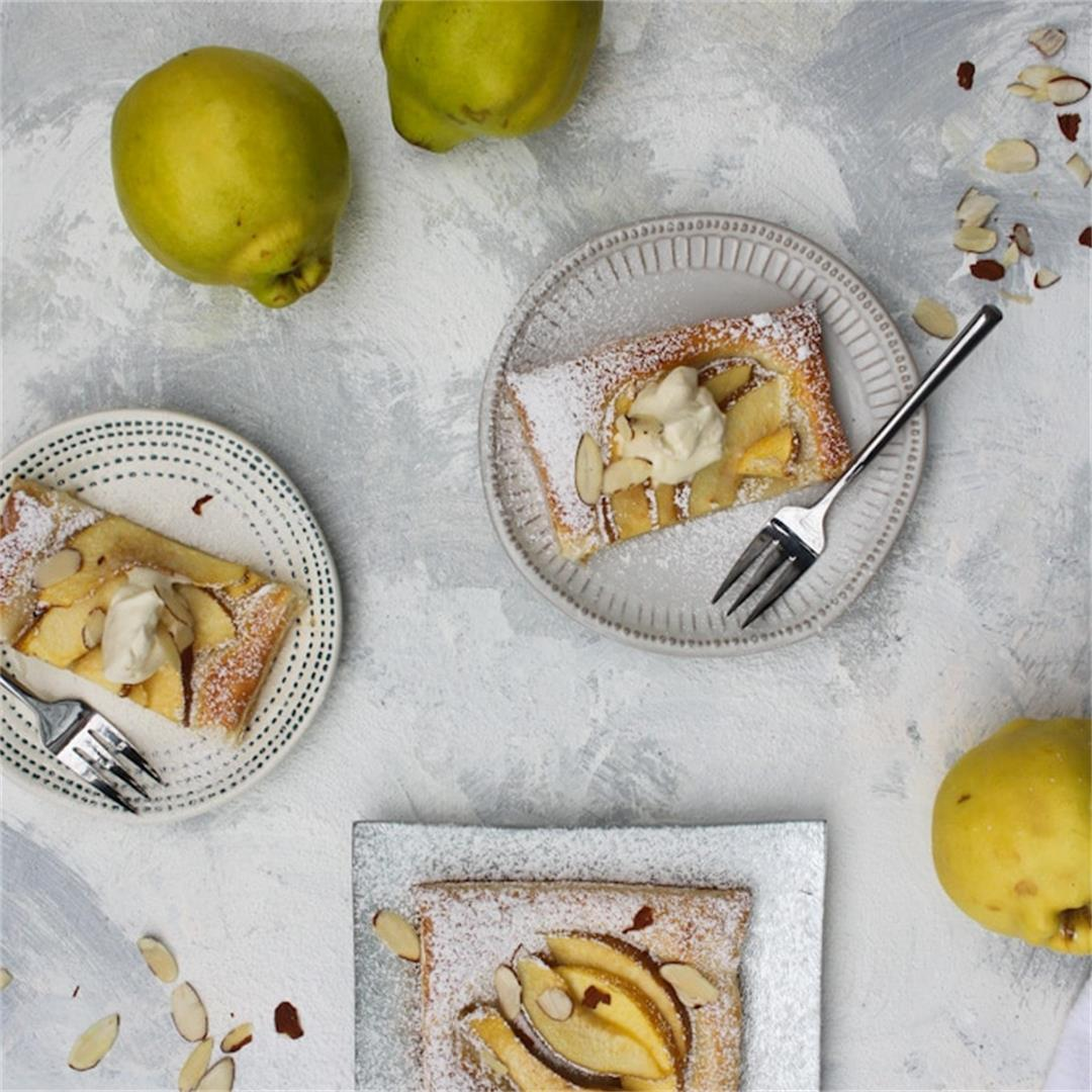 Quince Puff Pastry Tart with Mascarpone Whipped Cream + Almonds