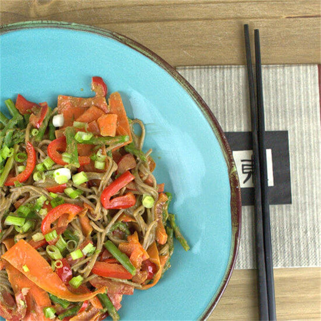 Soba Noodles with Vegetables in Peanut Sauce