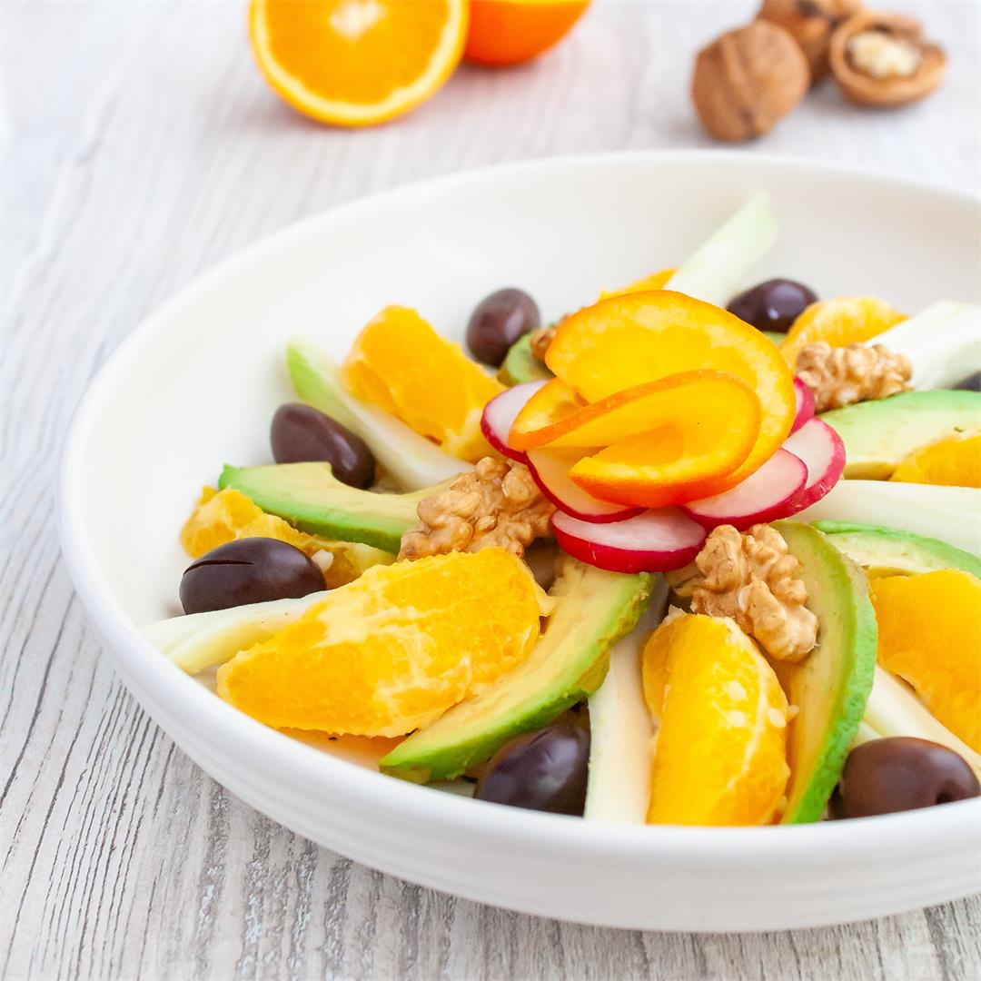 Orange, Fennel and Avocado Salad Bowl with Quinoa