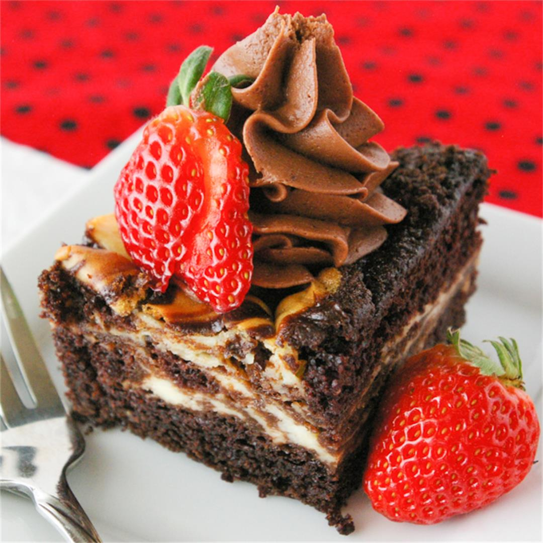 Cheesecake Swirled Chocolate Cake