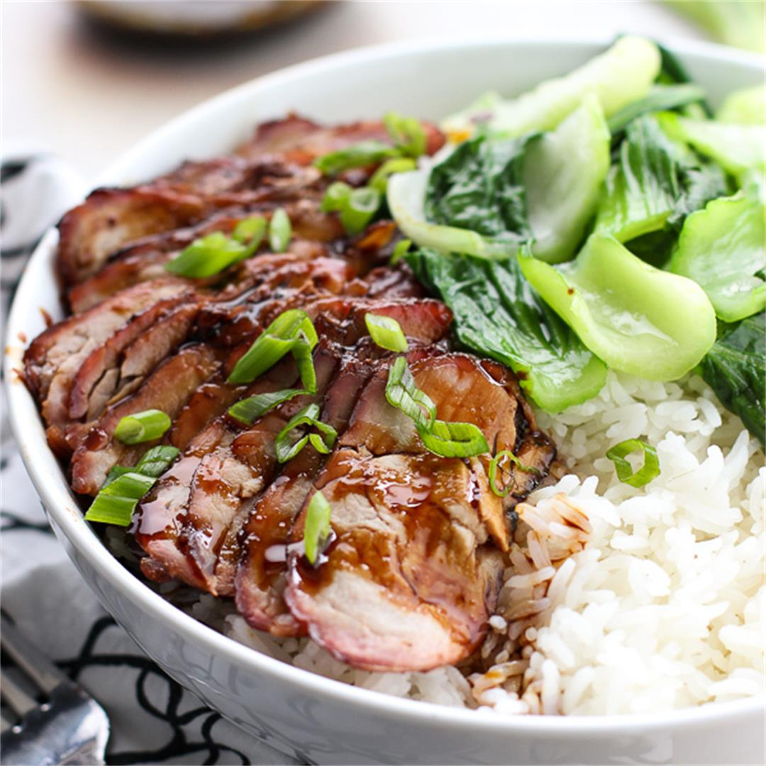 Chinese Barbecue Pork and Bok Choy Rice Bowl